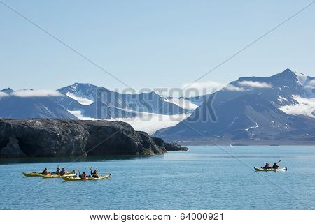 Svalbard, Norway - July 2013: Kayaking near New London in Svalbard