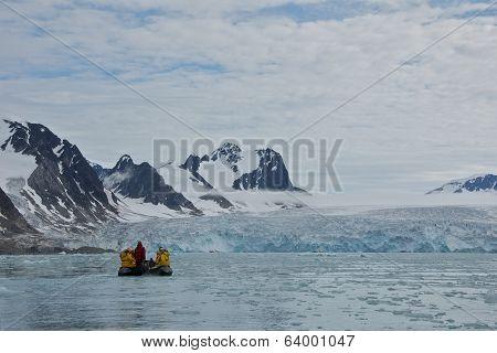 Svalbard, Norway - July 2013: Close-up of Smeerenburgfjorden in Svalbard