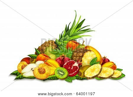 Tropical Fruits Set Still Life