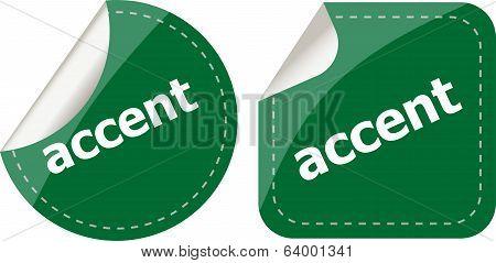 Accent Stickers Set On White, Icon Button
