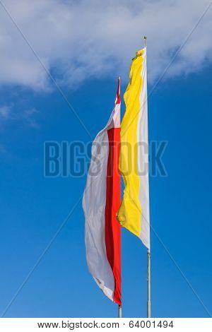 Polish and Papal flags