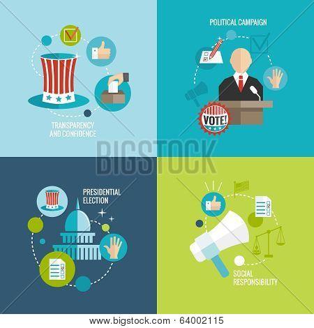 Elections icons flat decorative set