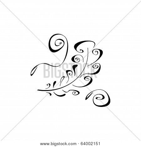 Feather on white background. Vector illustration.