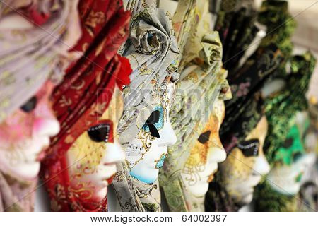 Carnival or mardi gras costume masks in Venice
