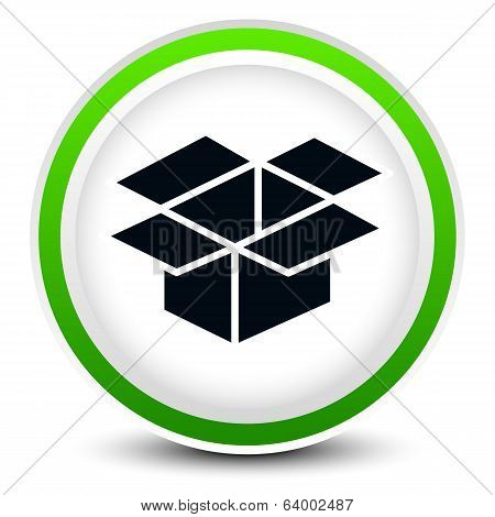 Open Box On Circle Icon For Related Themes, Logistics, Packaging, Package Design, Software Installat