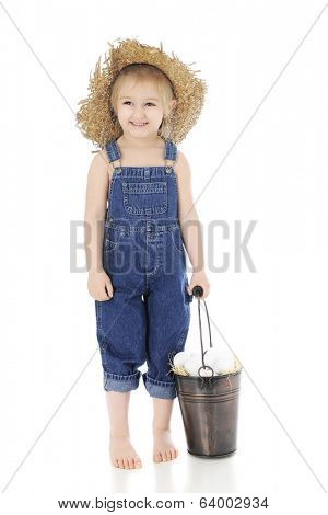 An adorable, barefoot, preschool farm girl happily holding the handle of a pail full of eggs.  On a white background.