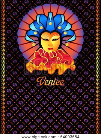 Venice travel postcard with woman face in golden mask
