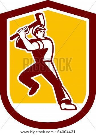 Union Worker Striking Sledgehammer Crest Retro