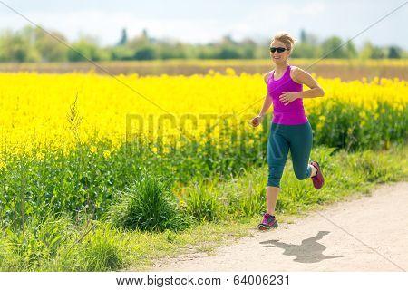 Woman Runner Happy Running Jogging On Sunny Day