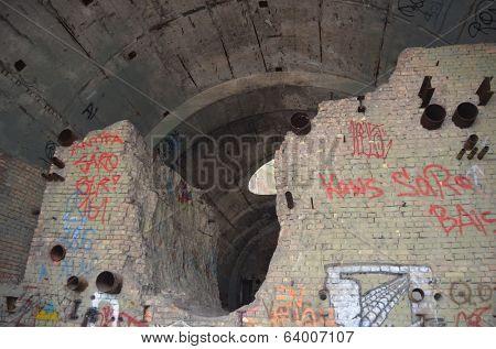 KIEV, UKRAINE -APR 21, 2014: Old tunnel of Stalin. Part of Kiev defense line in WW2 time. today named