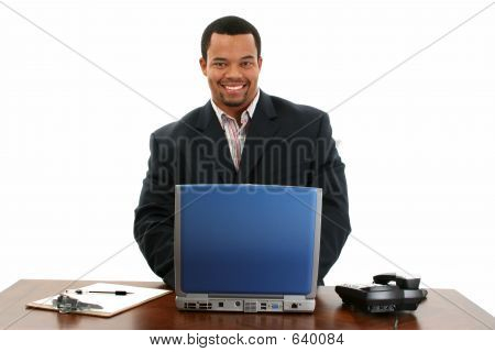 African American Business Man With Laptop