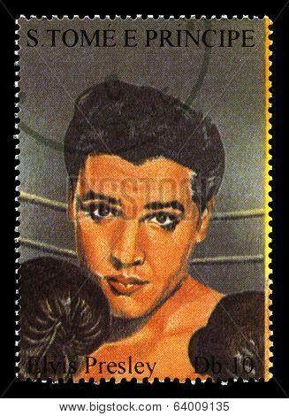 Elvis Presley Postage Stamp From S. Tome E Principe