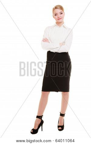 Full Length Of Young Blond Businesswoman Isolated On White
