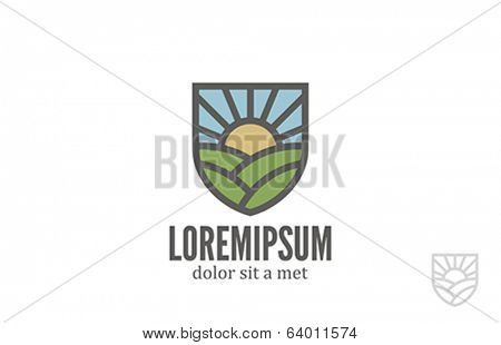 Natural Eco Farm vector logo design template. Bio ecology organic products icon. Agriculture emblem.