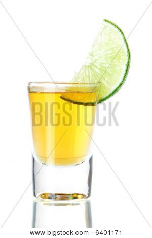 Gold Tequila With Lime Slice