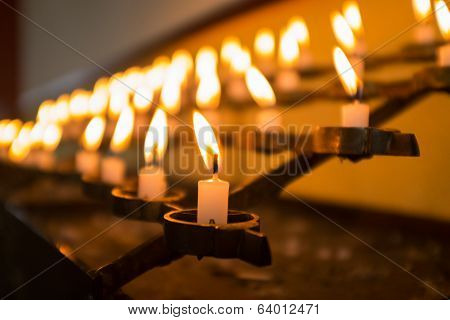 Candles In Church. Macro