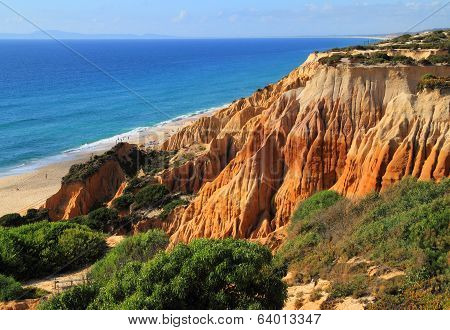 Beautiful cliff formations and pristine deserted beach. Portugal.
