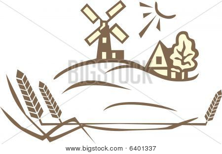 wheat and windmill landscape