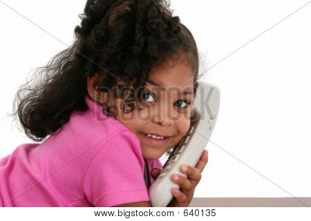 Beautiful Little Girl On Phone