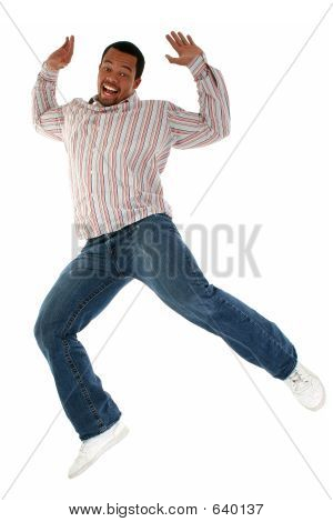 African American Male Jumping