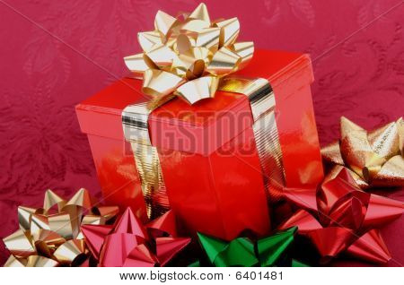 Red Christmas Gift Box Gold Ribbon Colorful Bows