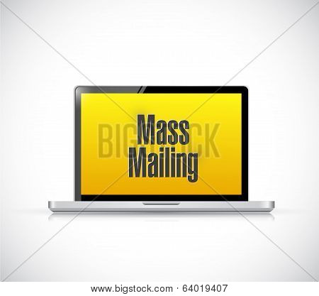 Mass Mailing Message On A Laptop Computer.