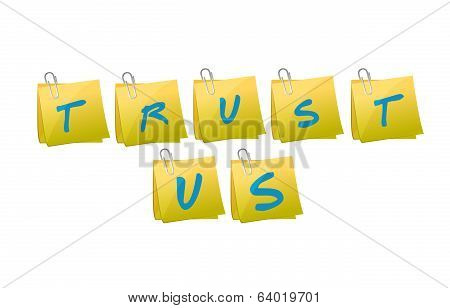 Trust Us Message Illustration Design