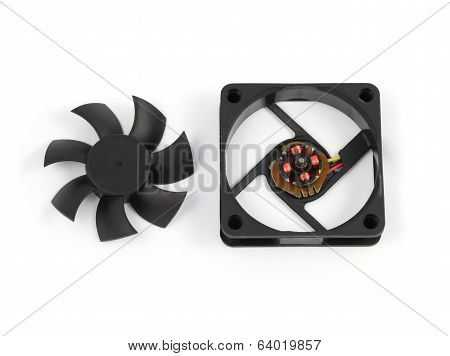 Disassemble Black Computer Fan On White Background