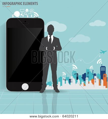 Businessman and touchscreen device with building background. Vector illustration.