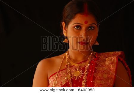 Indian Bride with Gold Jewelry