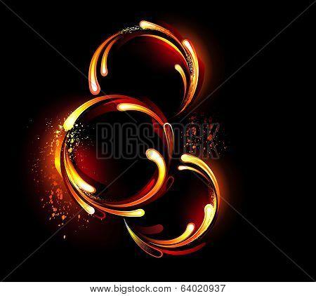Three round fiery banner