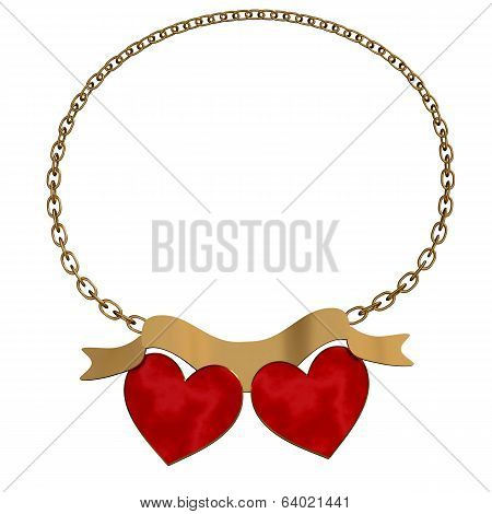 Gold Hearts On White Background