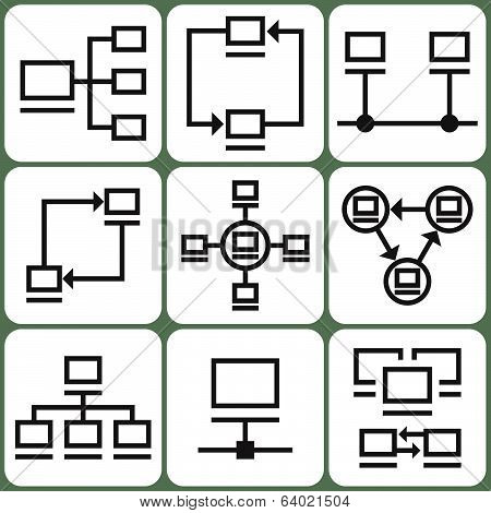 Computer network icons set