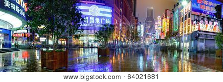 Nanjing Lu Road, Shanghai, China, Night Street After Rain