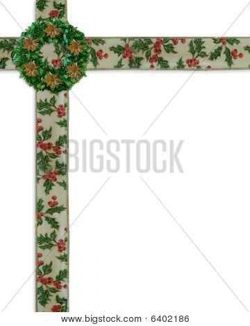 Coroa de flores e fitas natal