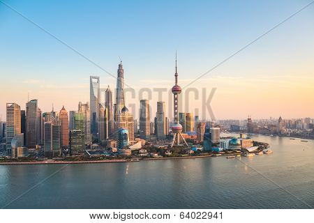 Shanghai Pudong At Dusk