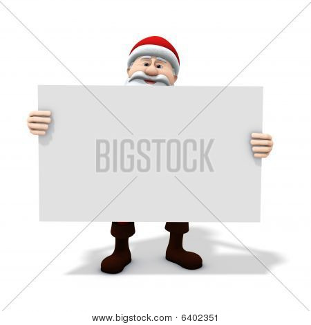 Santa Holding Big Sign