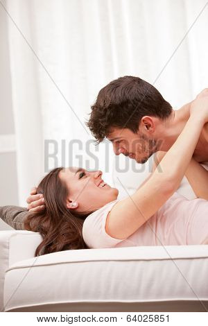 Woman About To Cuddle His Man