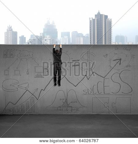 Man Climbing Over Wall With Business Doodles