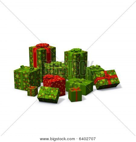 Pile Of Green And Red Christmas Presents