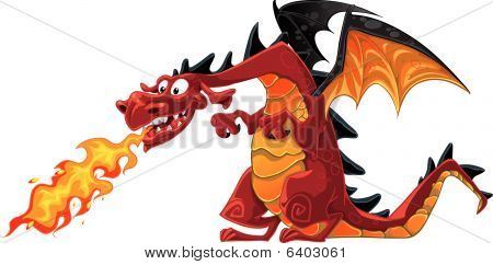 Vector Fabulous Magical Red With Teeth Fire-spitting Dragon