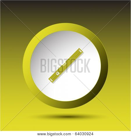 Spirit level. Plastic button. Vector illustration.