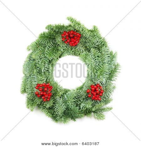 Christmas Wreath With Berries On White