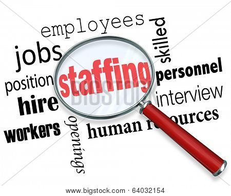 Staffing Words Magnifying Glass Employees Hiring Positions