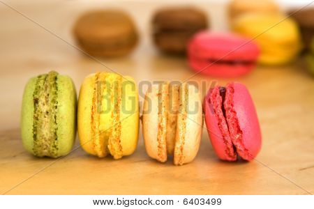 Traditional French Dessert. Assortment Of Multicolored Macaroon Cookies