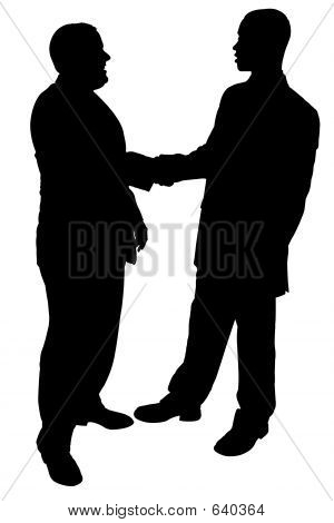 Silhouette With Clipping Path Of Two Businessmen Shaking Hands
