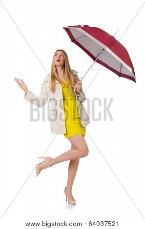 Woman with umbrella isolated on the white