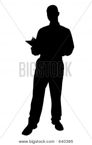Silhouette With Clipping Path Of Business Man With Clipping Boar