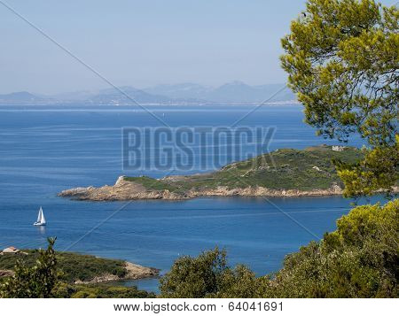 View From The French Port-cros Island In The Mediterranean Sea