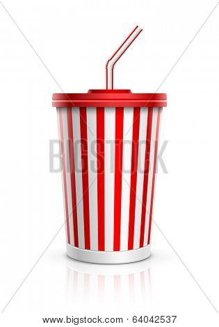 Disposable cup for beverages with straw. Vector illustration. All elements are layered separately in vector file.
